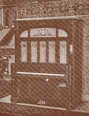 Catalogue Illustration of a Cremona J Orchestral - a keyboard style orchestrion manufactured by the Marquette Piano Company.